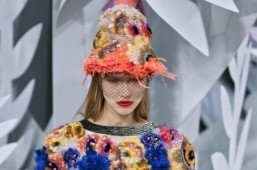 Flowers were a central element of the Chanel Haute Couture Spring-Summer 2015 runway show. © AFP PHOTO / PATRICK KOVARIK