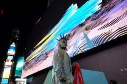 New York's Times Square lit up by huge digital billboard