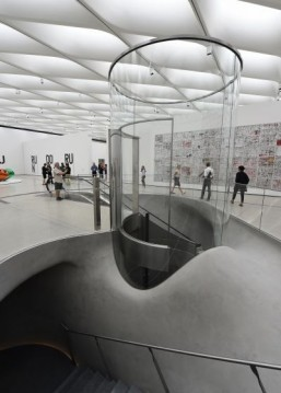 A view of the cylindrical elevator which brings visitors up to the third floor gallery, at the Broad Museum, Los Angeles ©ROBYN BECK / AFP