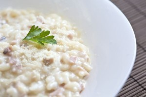 Recipe for smoked risotto with spinach, prosciutto and smoked mozzarella