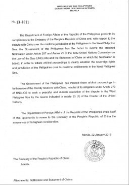 Statement by Secretary of Foreign Affairs Albert del Rosario on the UNCLOS Arbitral Proceedings against China to Achieve a Peaceful and Durable Solution to the Dispute in the West Philippine Sea
