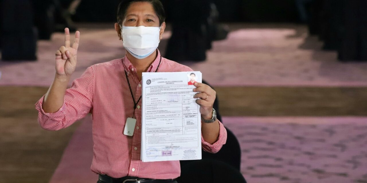 BONGBONG MARCOS FILES COC FOR PRESIDENT IN ELEKSYON 2022