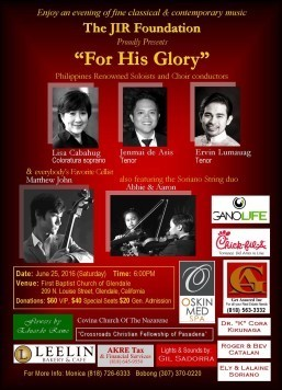 'For His Glory': An evening of classical and contemporary music for a cause
