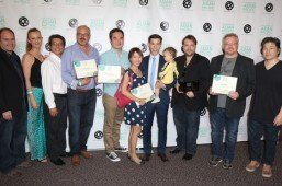 2015 LOS ANGELES ASIAN PACIFIC FILM FESTIVAL GRAND JURY PRIZE FOR BEST FEATURE GOES TO JASMINE, DIRECTED BY DAX PHELAN. HERE, THE TEAM FROM JASMINE CELEBRATES ITS FIVE AWARDS. FIFTH FROM LEFT: CHRIS CHAN LEE (WINNER, BEST EDITING); SEVENTH FROM LEFT: JASON TOBIN (WINNER, BEST ACTOR IN A DRAMA); THIRD FROM RIGHT:  DAX PHELAN (DIRECTOR); SECOND FROM RIGHT: GUY LIVNEH (WINNER, BEST CINEMATOGRAPHY). (PHOTO courtesy of STEVEN LAM)