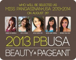 FIVE BEAUTIES WILL VIE  FOR MISS PANGASINAN-USA ON AUG. 31