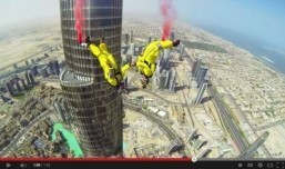 Screenshot: French duo Vince Reffet and Fred Fugen perform a record-breaking BASE jumping from above the pinnacle of the world's tallest building. ©SkyDive Dubai/YouTube