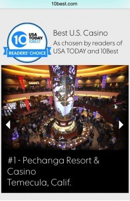 Favorite casino in America survey results announced today revealing top resort/casino in US