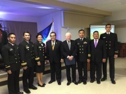 "Ambassador Jose L. Cuisia, Jr., Col. Orlando M. Suarez (2nd from right) of the Defense and Armed Forces Affairs Office, Philippine Embassy in Washington, D.C., and Consul General Mario L. De Leon, Jr. (3rd from left), Philippine Consulate General in New York, with Filipino-American students of the US Naval War College during ""Philippine Night"" at Newport, Rhode Island on 26 October 2015. Photo courtesy of Col. Orlando M. Suarez."
