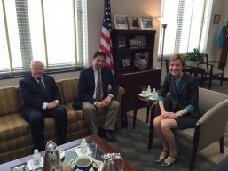 Philippine Ambassador to the United States Jose L. Cuisia, Jr., Philippine Acting Secretary of Justice Emmanuel L. Caparas and US Department of State Counselor Kristie Kenney. (Photo taken on March 16, 2016 in Washington, D.C)