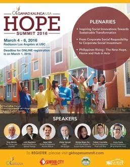 Gawad Kalinga USA Hope Summit in Los Angeles March 4-6