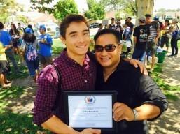 UCLA Pilipino Alumni presents scholarship to Josh Manansala
