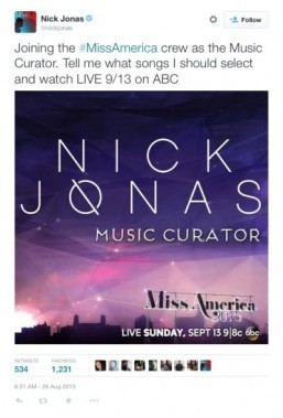 Nick Jonas is Miss America 2015's Music Curator ©Twitter/nickjonas