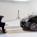 Karl Lagerfeld's cat poses with the new Opel Corsa