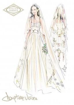 Angelina Jolie weds in Versace – see the sketch