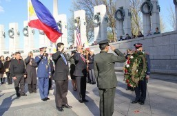 Wreath-laying ceremony during the 74th Bataan Day Commemoration held at the World War II Memorial, National Mall on 08 April 2016